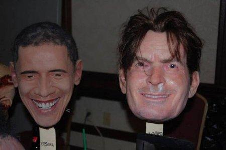 реалистичные маски Чарли Шин и Барак Обама